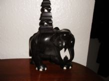 "GOOD OLD VINTAGE SOLID EBONY WOODEN CARVED ELEPHANT HOWDAH TOWER 10"" 1.75kg"
